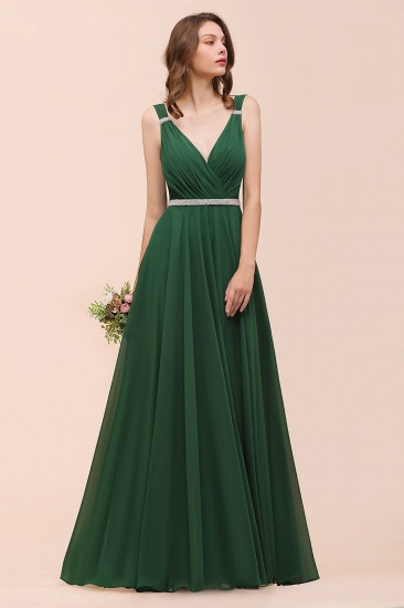 Gorgeous Chiffon V Neck Ruffle Bridesmaid Dress with Beading Sash_8