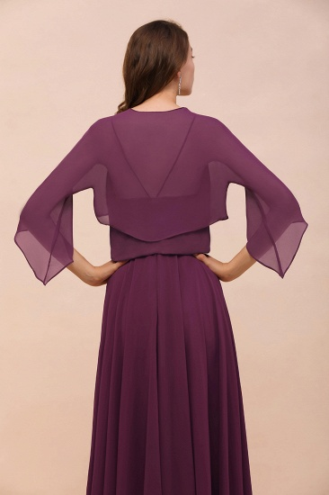BMbridal Grape Chiffon 3/4 Sleeves Special Occasions Wrap_9
