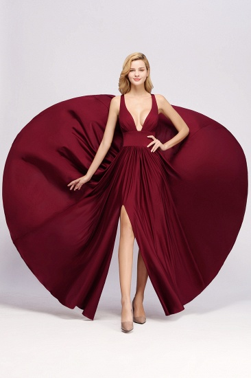 Sexy Deep V-Neck Sleeveless Bridesmaid Dress Burgundy Chiffon Wedding Party Dress_35