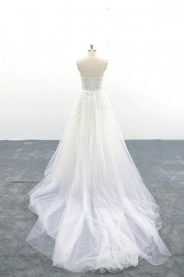 BMbridal Appliques Strapless Tulle A-line Wedding Dress On Sale_3