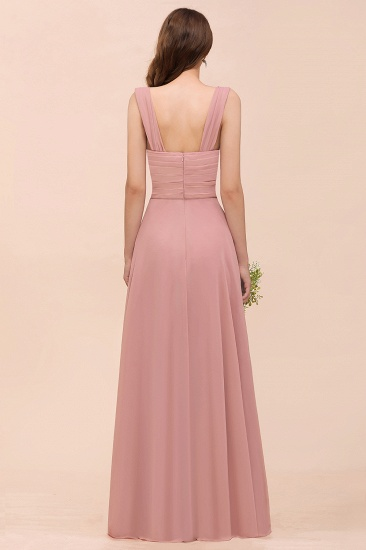 Vintage Mauve Chiffon Straps Ruffle Affordable Bridesmaid Dress_3