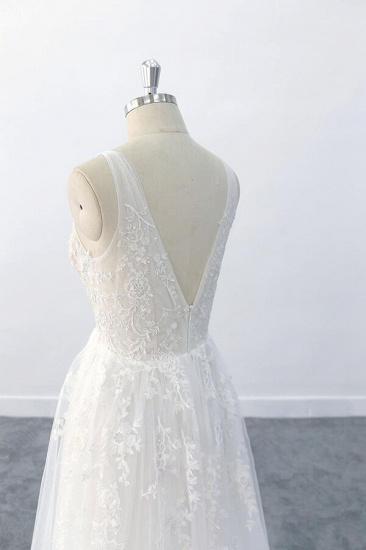 BMbridal Elegant V-neck Appliques Tulle A-line Wedding Dress On Sale_8