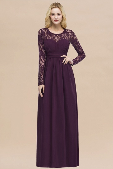 BMbridal Elegant Lace Burgundy Bridesmaid Dresses Online with Long Sleeves_20