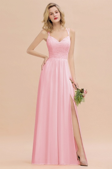 BMbridal Sexy Spaghetti-Straps Coral Lace Bridesmaid Dresses with Slit_4