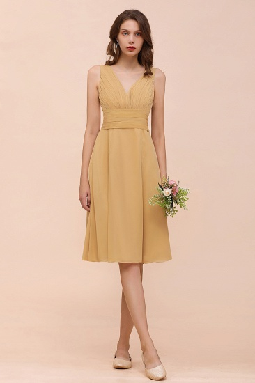 Affordable V Neck Ruffle Gold Short Bridesmaid Dress