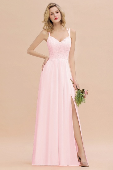 BMbridal Sexy Spaghetti-Straps Coral Lace Bridesmaid Dresses with Slit_3