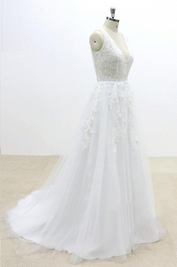 BMbridal Ruffle V-neck Appliques Tulle A-line Wedding Dress On Sale_4