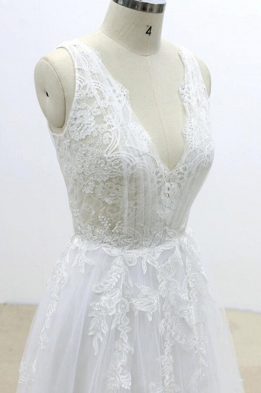 BMbridal Ruffle V-neck Appliques Tulle A-line Wedding Dress On Sale_6