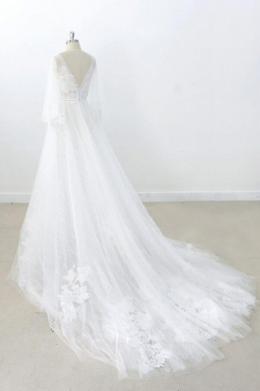 BMbridal Long Sleeve V-neck Appliques Tulle Wedding Dress On Sale_5