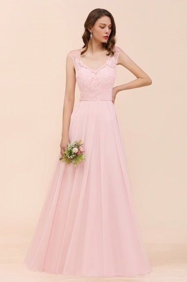 Elegant Pink Lace Straps Ruffle Affordable Bridesmaid Dress_6