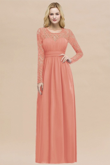 BMbridal Elegant Lace Burgundy Bridesmaid Dresses Online with Long Sleeves_45