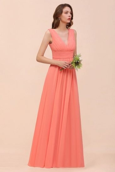Elegant V-Neck Ruffle Coral Chiffon Cheap Bridesmaid Dresses Online_9