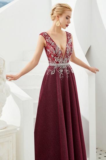 Shinning Bugrundy Crystal  Prom Dress Long V-Neck Sleeveless Evening Gowns_8