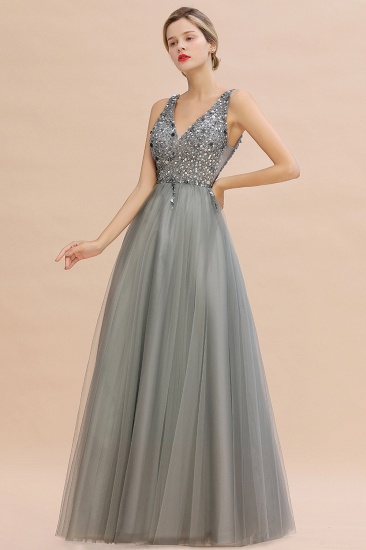BMbridal Glamorous V-Neck Sleeveless Prom Dress Long Tulle Evening Gowns With Crystals_9