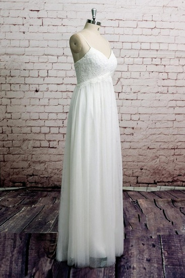 BMbridal Empire Spaghetti Strap Lace Tulle Wedding Dress On Sale_4