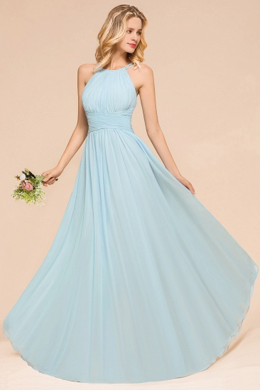 Gorgeous Halter Ruffle Sky Blue Affordable Bridesmaid Dress_5