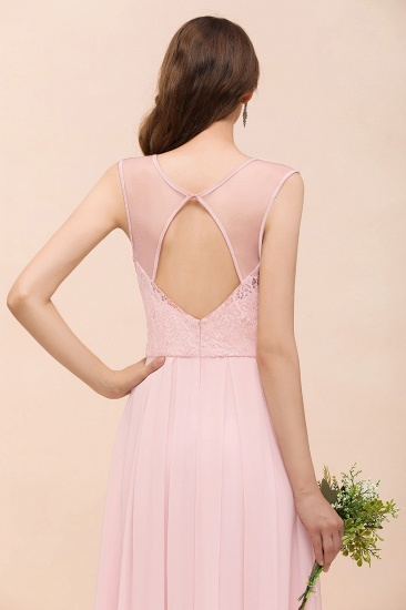 BMbridal Elegant Pink Lace Straps Ruffle Affordable Bridesmaid Dress_9