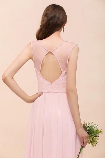 Elegant Pink Lace Straps Ruffle Affordable Bridesmaid Dress_9