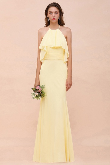 Gorgeous Daffodil Mermaid Halter Ruffle Bridesmaid Dress