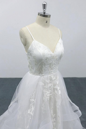 BMbridal Best Appliques Spaghetti Strap Tulle Wedding Dress On Sale_6