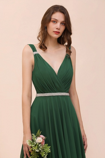 Gorgeous Chiffon V Neck Ruffle Bridesmaid Dress with Beading Sash_9