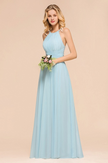 Gorgeous Halter Ruffle Sky Blue Affordable Bridesmaid Dress_7