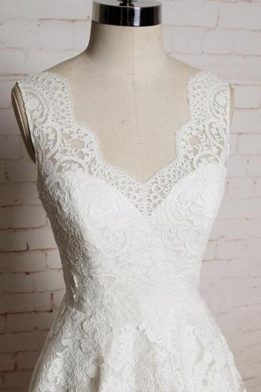 BMbridal Chic V-neck Appliques Tulle A-line Wedding Dress On Sale_4