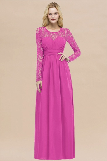 BMbridal Elegant Lace Burgundy Bridesmaid Dresses Online with Long Sleeves_9