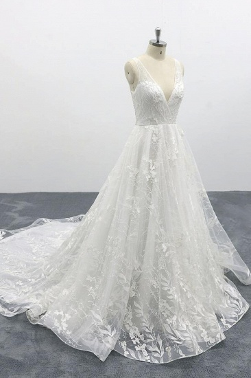 BMbridal Elegant V-neck Appliques Tulle A-line Wedding Dress On Sale_5