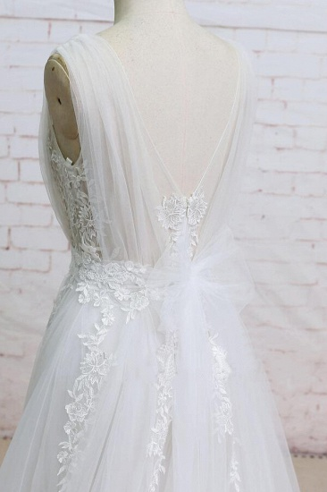 BMbridal Appliques Tulle Ruffle A-line Wedding Dress On Sale_5