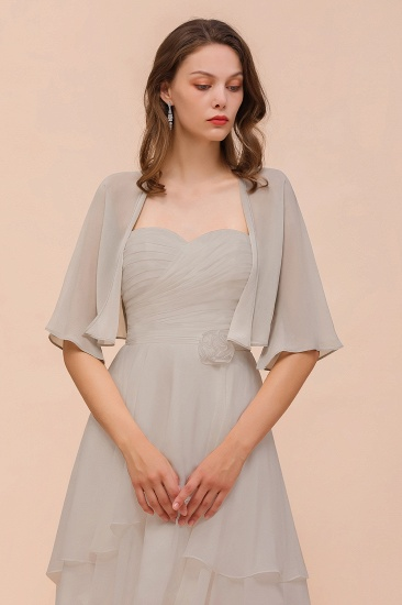 Silver Chiffon Half Sleeves Special Occasions Wraps