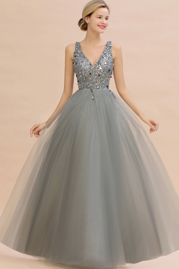 BMbridal Glamorous V-Neck Sleeveless Prom Dress Long Tulle Evening Gowns With Crystals_10