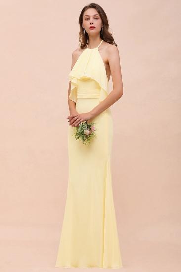 BMbridal Gorgeous Daffodil Mermaid Halter Ruffle Bridesmaid Dress_5