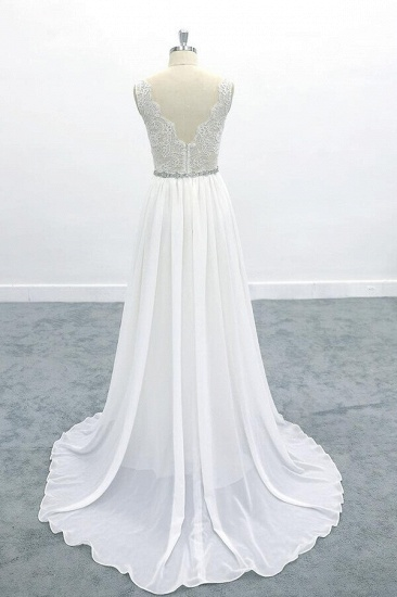 BMbridal Awesome V-neck A-line Lace Chiffon Wedding Dress On Sale_3