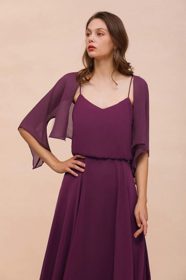 BMbridal Grape Chiffon 3/4 Sleeves Special Occasions Wrap_7
