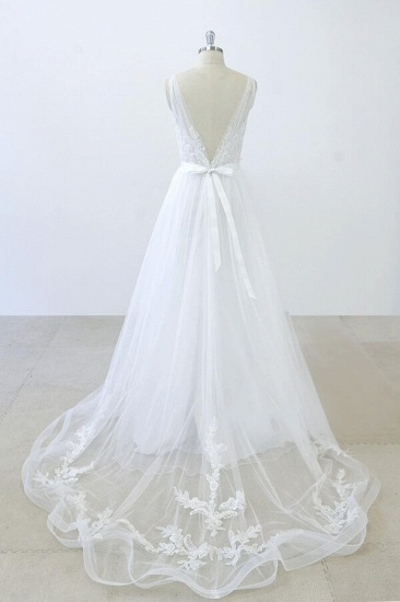 BMbridal V-neck Ruffle Applqiues Tulle A-line Wedding Dress On Sale_3
