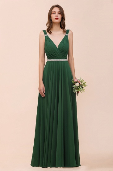 Gorgeous Chiffon V Neck Ruffle Bridesmaid Dress with Beading Sash_7