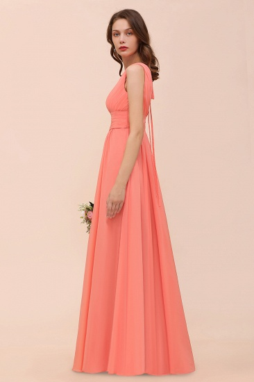 Elegant V-Neck Ruffle Coral Chiffon Cheap Bridesmaid Dresses Online_8