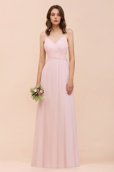 Gorgeous Chiffon Ruffle Blushing Pink Bridesmaid Dress with Spaghetti Straps_2