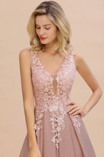 Dusty Pink V-Neck Long Prom Dress With Lace Appliques Online_13