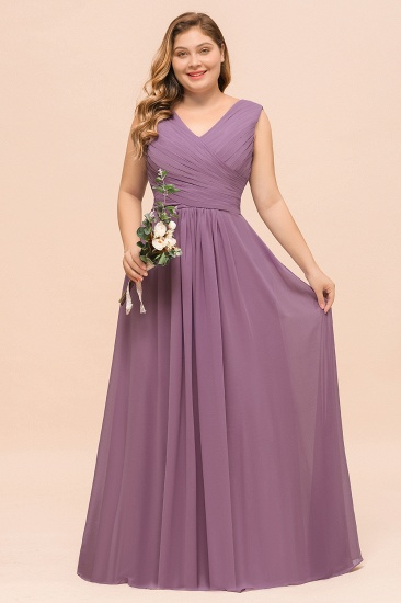 Elegant Wisteria Sleeveless Ruffle Plus size Bridesmaid Dress_2