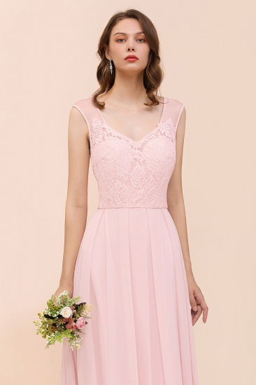 BMbridal Elegant Pink Lace Straps Ruffle Affordable Bridesmaid Dress_8