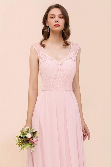 Elegant Pink Lace Straps Ruffle Affordable Bridesmaid Dress_8