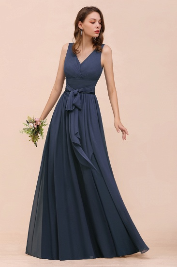 Affordable V-Neck Chiffon Long Stormy Bridesmaid Dress With Slit_5