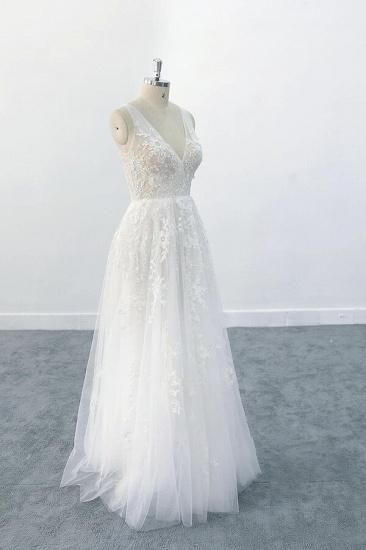 BMbridal Elegant V-neck Appliques Tulle A-line Wedding Dress On Sale_4