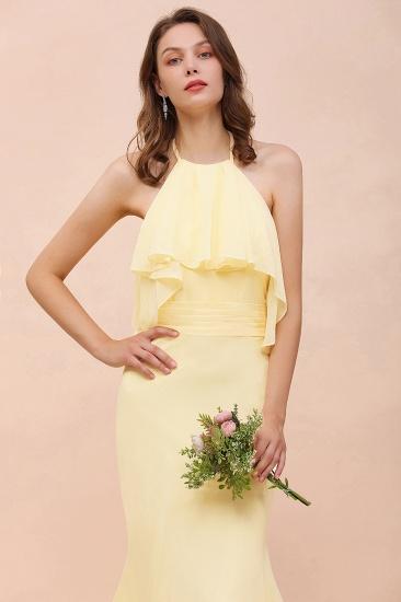 BMbridal Gorgeous Daffodil Mermaid Halter Ruffle Bridesmaid Dress_8