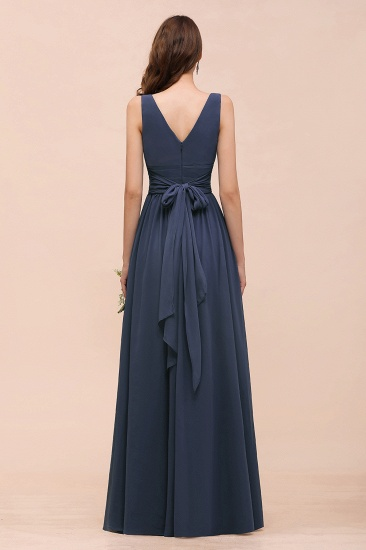 Affordable V-Neck Chiffon Long Stormy Bridesmaid Dress With Slit_3