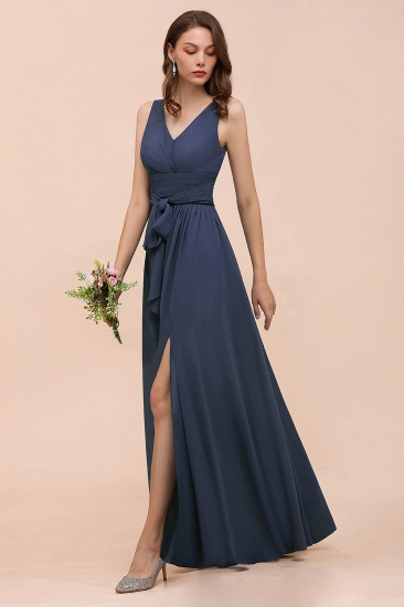 BMbridal Affordable V-Neck Chiffon Long Stormy Bridesmaid Dress With Slit_4