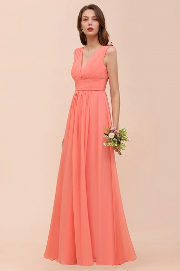 Elegant V-Neck Ruffle Coral Chiffon Cheap Bridesmaid Dresses Online_5