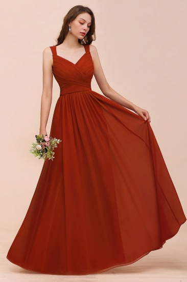 BMbridal New Arrival Gorgeous Straps Ruffle Rust Long Bridesmaid Dress_4